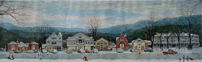 Title: Stockbridge Main Street at Christmas (Home for Christmas) , Date: 1967 , Size: 8 7/8 x 28 5/8 , Medium: Signed Print (SP807L) , Price: $2,600