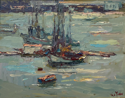 Fishing boats rest on the waters of Monterey Bay near Fisherman's Wharf.  An excellent example of Yuan's Monterey Bay paintings in the 1960's.  Yuan's signature colors and heavy impasto.