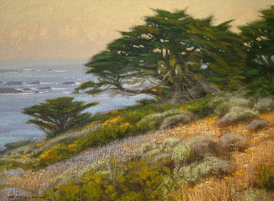 Wildflowers and cypress trees at dusk at Point Lobos State Park near Carmel, CA.