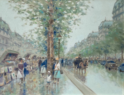 An impressionist street scene in Paris, France.