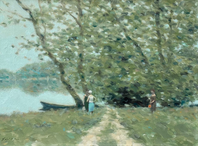 An impressionist landscape of women enjoying a beautful Spring day along a river in France.