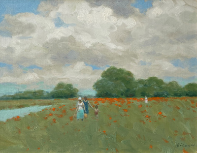 An impressionist view of women and a child walking in a poppy field along a river in Springtime.
