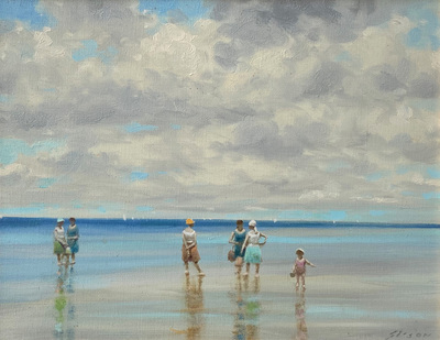 An impressionist view of women and a child standing on the beach at a seashore in France.