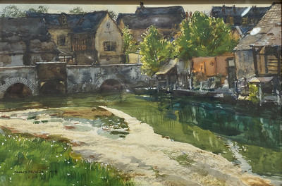 Donald Teague, N.A. - Old Houses - Chartres - Watercolor - 6 x 9