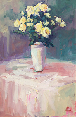 A still life of yellow roses in a white vase on a table with a white tablecloth