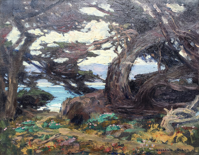 Title: Cypress - Point Lobos , Date: c 1920's , Size: 11 x 14 , Medium: Oil on Board