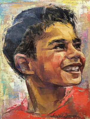 Portrait of the head of a smiling Pacific Island boy in a red shirt.