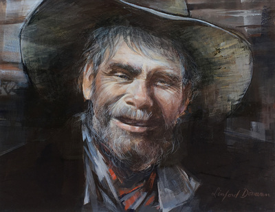 Detailed portrait of the head of an older man in cowboy dress.