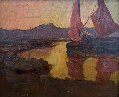 Early tonalist landscpae of boats with red sails in a glowing cove at sunset, possibly with Mt. Tamalpais in the distance.