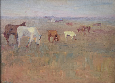 Early tonalist painting of brown and white farm animals grazing in a field, probalby in the area of Oakland or Marin County, California.