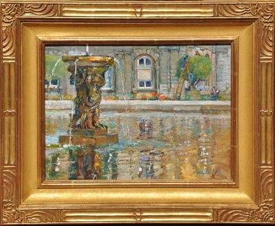 An Impressionist painting of reflections in the water of a fountain pool in the Luxembourg Gardens in Paris