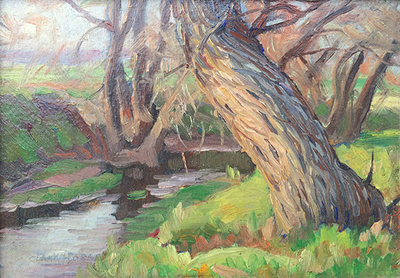 Title: Along the Carmel River , Date: c. 1920's , Size: 5.5  x 7.75 , Medium: Oil on Board , Price: $2,950