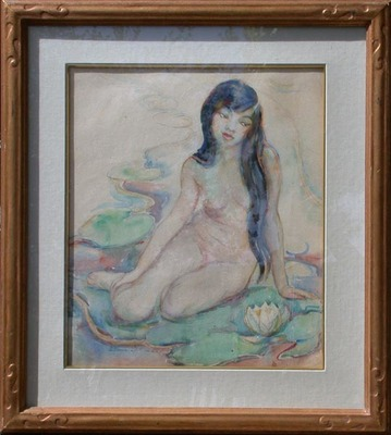 Title: Suih Fah on Lillies, 1926 , Date: 1926 , Size: 21 x 18.25 , Medium: Watercolor , Price: $7,500