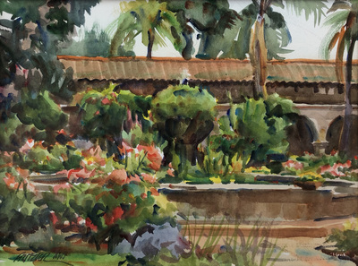 Title: Morning at the Mission , Date: 2006 , Size: 9 x 12 , Medium: Watercolor , Price: $950