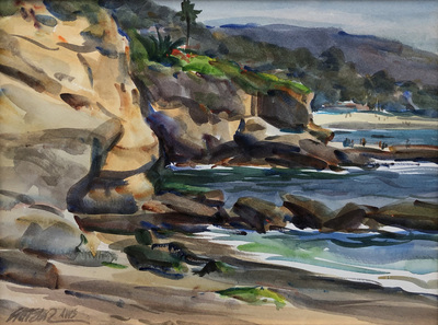 A watercolor view of an afternoon along the coast at Laguna Beach, California.