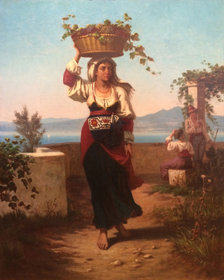 Title: Woman Carrying a Basket of Fruit, 1868 , Date: 1868 , Size: 36 x 29 , Medium: Oil on Canvas , Price: $19,500