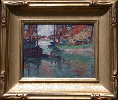 Title: Brittany Boats with Dory , Date: c. 1920's , Size: 10.5 x 13.63 , Medium: Oil on Board