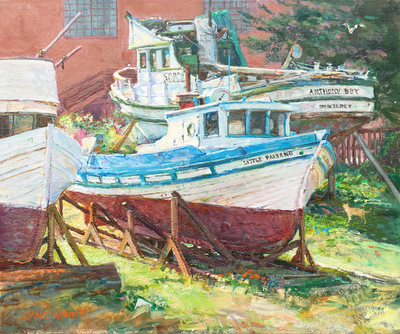 Title: Old Monterey Boatworks , Date: 2008 , Size: 20 x 24 , Medium: Oil on Linen , Price: $5,500