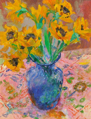 Jane Goode - Mexican Sunflowers - Oil on Board - 16 x 12