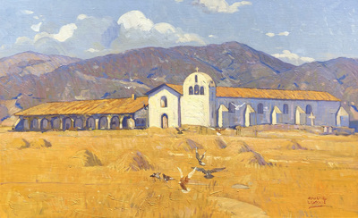 A large, colorful Early California landscape depicting Mission Santa Inez in Solvang, California.  A golden field with pheasants and haystacks in the foreground, with the mission church as it appeared in the 1920's, and foothills in the distance.