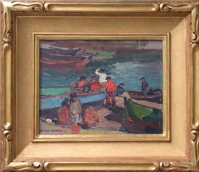 Title: Brittany Fishermen , Date: c. 1920's , Size: 10.5 x 13.63 , Medium: Oil on Board