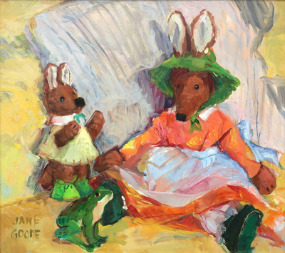 Title: Fenwick and Friends , Date: c. 1968 , Size: 14 x 16 , Medium: Oil on Board , Price: $2,750