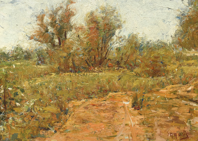 Title: Dry Creek , Date: c. 1910's , Size: 9 x 12.5 , Medium: Oil on Board