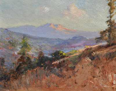 Title: Mountain Twilight , Date: c. 1910's , Size: 10 x 12.5 , Medium: Oil on Board , Price: $5,500