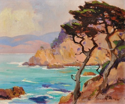 Title: Cypress - Point Lobos , Date: c. 1920's , Size: 10 x 11.75 , Medium: Oil on Board , Price: $3,750