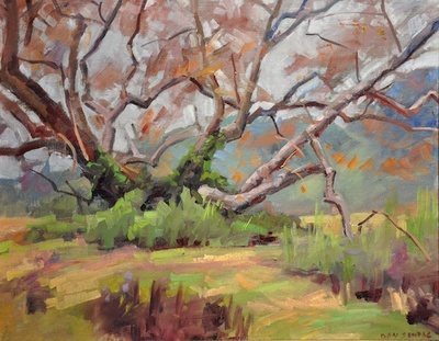 Sping landscape with a large sycamore tree at the former Fort Ord near Monterey, California. Won Honorable Mention at the 17th Annual Carmel Art Festival in 2010