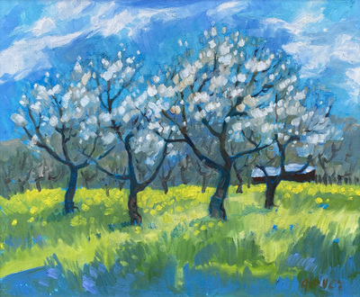 Title: The Blossoms Are Here , Date: c. 2000's , Size: 20 x 24 , Medium: Oil on Canvas , Price: $2,750