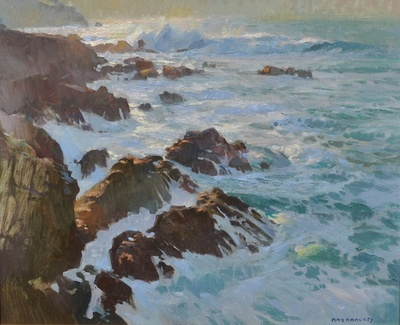 Brilliant morning light on waves crashing on the rocky coast of Granite Point in Big Sur, California.