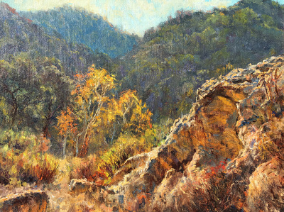 Title: Touch of Autumn Colors in the Canyon , Date: 2016 , Size: 12 x 16 , Medium: Oil on Linen on Birch Ply , Price: $2,150