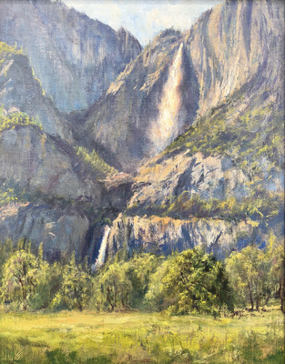 Title: Yosemite Falls From Crooks Meadow , Date: 2018 , Size: 14 x 11 , Medium: Oil on Linen on Board , Price: $1,750