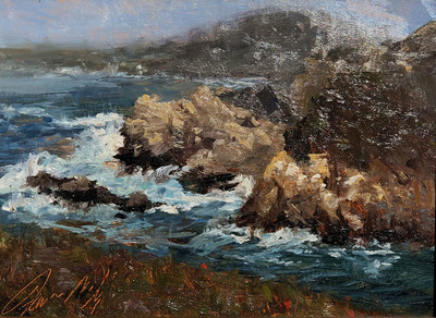Sunlit waves crashing on the rugged coastal  rocks at Bird Island in Point Lobos State Park in Carmel, California.  Includes beautiful gold leaf fame by Mayen-Olson Framemakers.