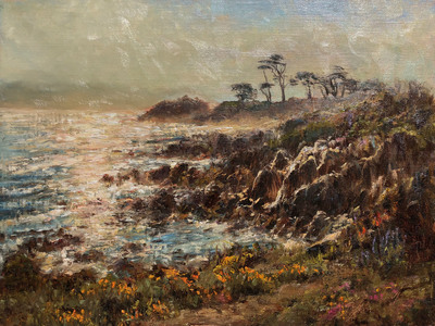 Shimmering morning light looking east along the Pacific coast at Lover's Point in Pacific Grove, California. Includes beautiful gold leaf frame by Mayen-Olson Framemakers.