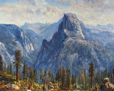 Iconc view of Half Dome from Glacier Point.  Painted en plein air in August, 2017.  Includes gold leaf frame by Mayen-Olson Framemakers.