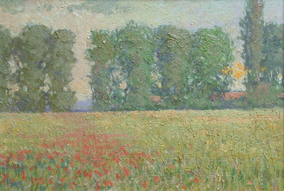 Title: French Poppies & Poplars , Date: c. 1900's , Size: 11 x 16 , Medium: Oil on Board