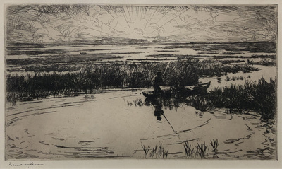 Title: Sunrise , Size:  7 x 10.5 , Medium: Drypoint etching , Price: $3,750