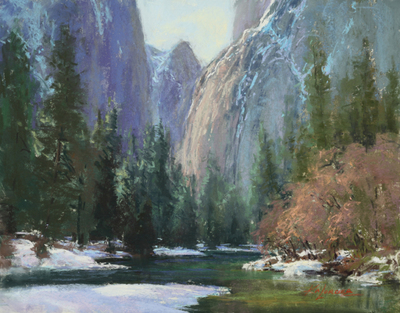 Title: Cathedral Rocks, Yosemite , Date: 2018 , Size: 11 x 14 , Medium: Pastel on Archival Board