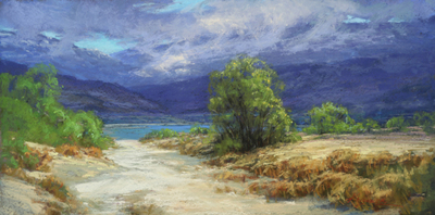 Title: Drama at Tejon Ranch , Date: 2018 , Size: 12 x 24 , Medium: Pastel on Archival Board , Price: $4,200