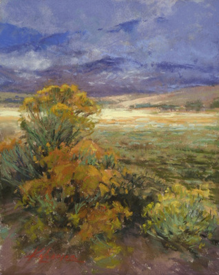 Title: Rabbitbrush in Shadow , Date: 2019 , Size: 10 x 8 , Medium: Pastel on Archival Board , Price: $2,000