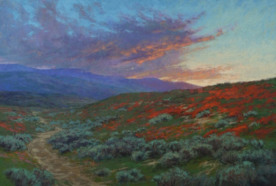 Title: Land of Fire, California Poppies at Rest , Date: 2019 , Size: 27 x 40 , Medium: Pastel on Archival Board , Price: $14,000