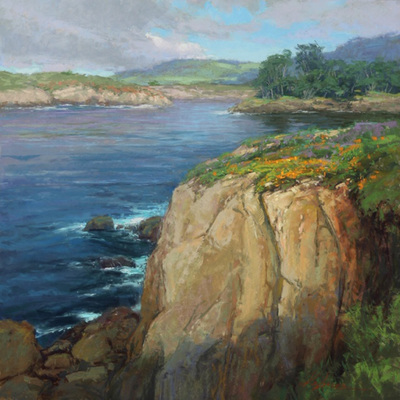 Title: Point Lobos Calm , Date: 2019 , Size: 24 x 24 , Medium: Pastel on Archival Board , Price: $6,200