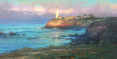 Title: Pigeon Point Lighthouse , Date: 2019 , Size: 8 x 16 , Medium: Pastel on Archival Board , Price: $2,400