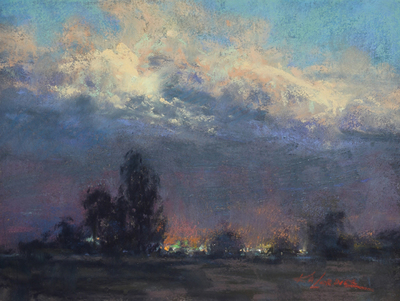 Kim Lordier - Evening Study - Pastel on Archival Board - 6 x 8