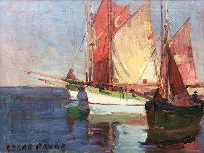 Title: Fishing Boats , Date: c. 1920's , Size: 18.25 x 24.25 , Medium: Oil on Canvas , Price: $27,500