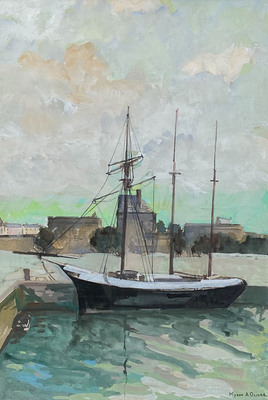 Title: European Harbor Scence (St. Tropez?) , Date: c. 1930's , Size: 15.5 x 11 , Medium: Gouache , Price: $4,500