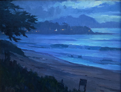 Title: Dusk, Carmel Bay , Date: 2019 , Size: 11 x 14 , Medium: Oil on Canvas/Board , Price: $2,100