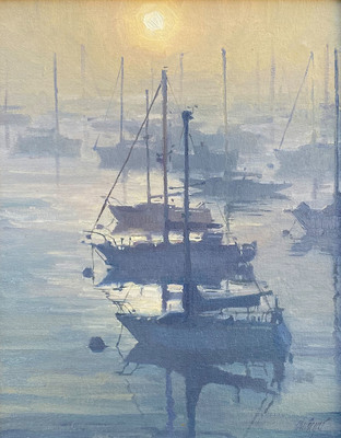 Title: Lifting Fog, Monterey Harbor , Date: 2019 , Size: 14 x 11 , Medium: Oil on Canvas/Board , Price: $2,100